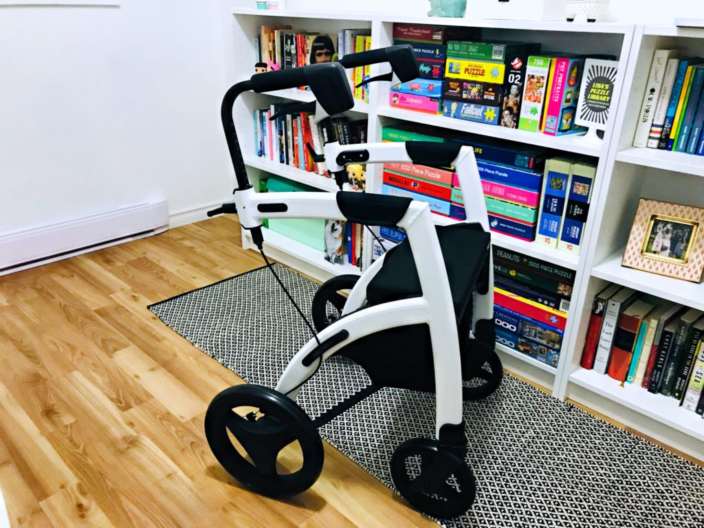 This is an image of Lisa's white and black Rollz Motion rollator in it's first position, the regular rollator. It is placed on a black and white rug in front of Lisa's white bookcase with colourful books and puzzles.